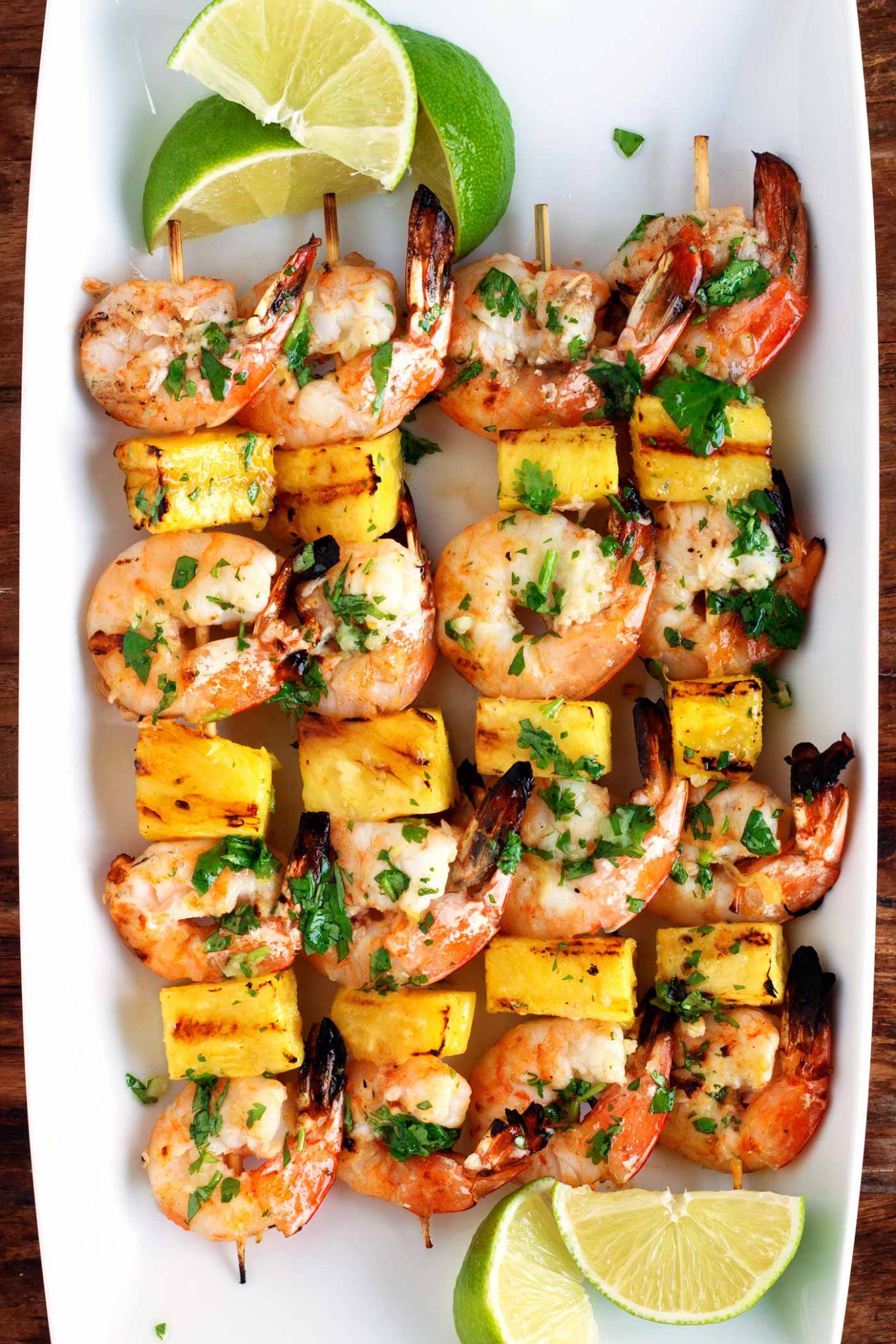 Grilled Shrimp & Pineapple Skewers with Garlic Cilantro Butter - pineapple recipes dinner