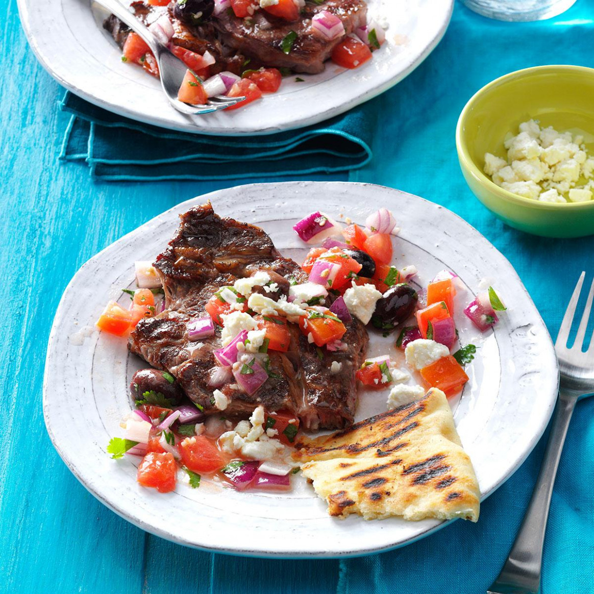 Grilled Steaks With Greek Relish - Greek Dinner Recipes