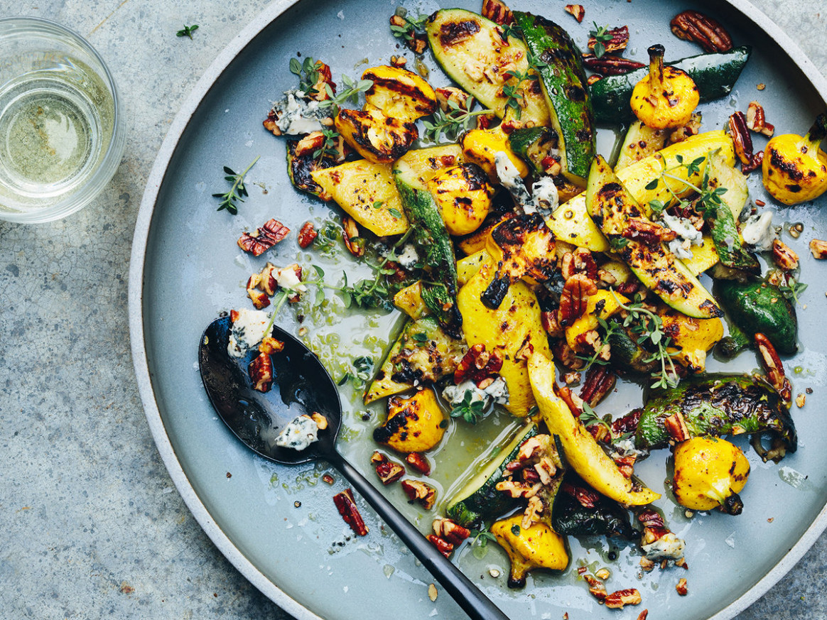 Grilled Summer Squash With Blue Cheese And Pecans Recipe ..