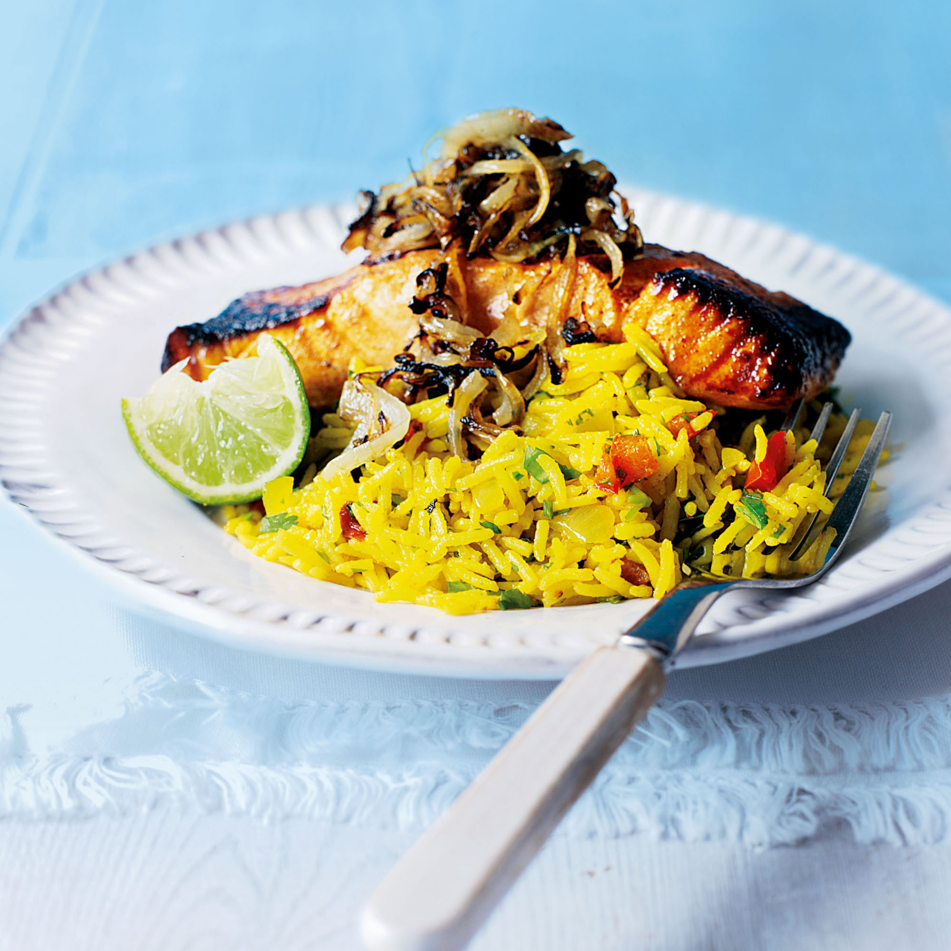 Grilled Tikka Salmon with Spicy Rice Pilaf - rice recipes dinner