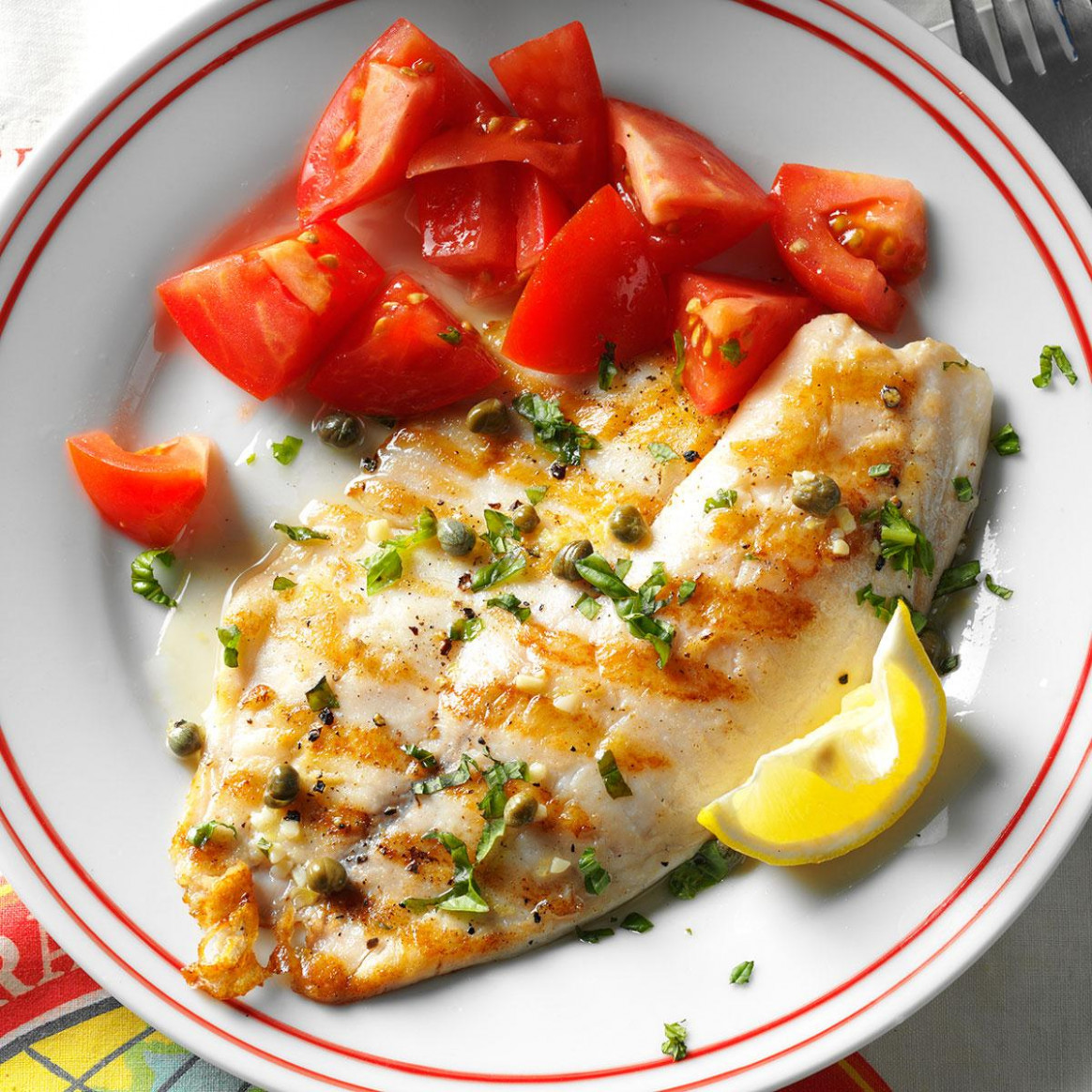 Grilled Tilapia Piccata Recipe | Taste of Home - fish recipes dinner