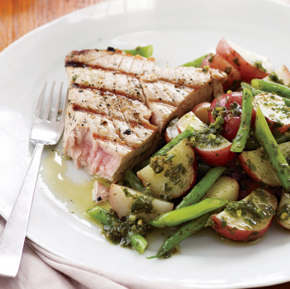 Grilled Tuna Steaks with Potato and Green Bean Salad - fresh tuna recipes dinner
