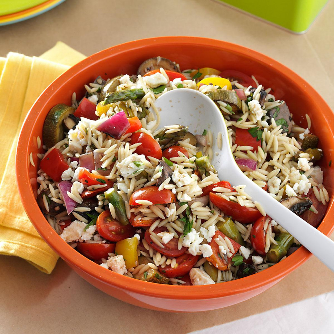Grilled Vegetable Orzo Salad Recipe | Taste of Home - orzo recipes vegetarian