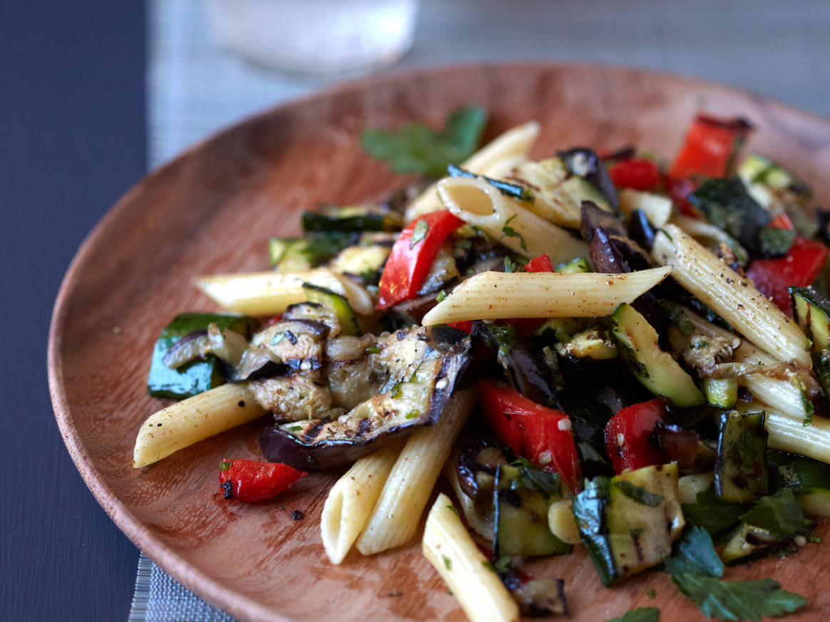 Grilled-Vegetable Pasta with Cumin - recipes for vegetarian pasta