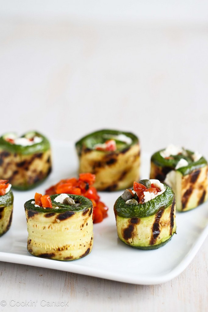 Grilled Zucchini Roll Recipe with Goat Cheese, Roasted Peppers & Capers | cookincanuck