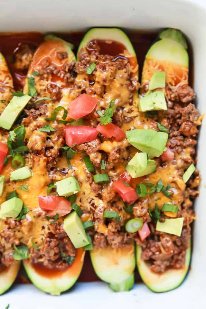 Ground Beef Enchilada Zucchini Boats | Easy Healthy Recipes - dinner recipes with ground beef