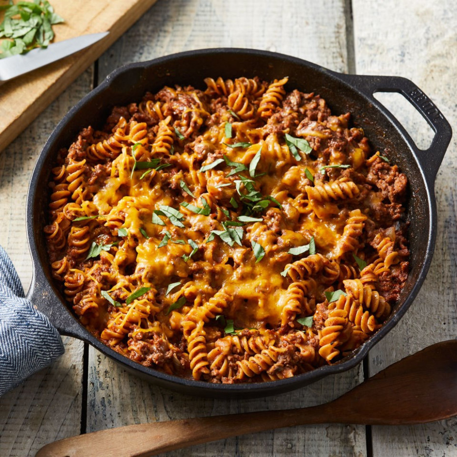Ground Beef & Pasta Skillet Recipe - EatingWell - recipes for ground beef healthy