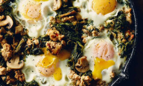 Ground Chicken, Spinach & Egg Skillet