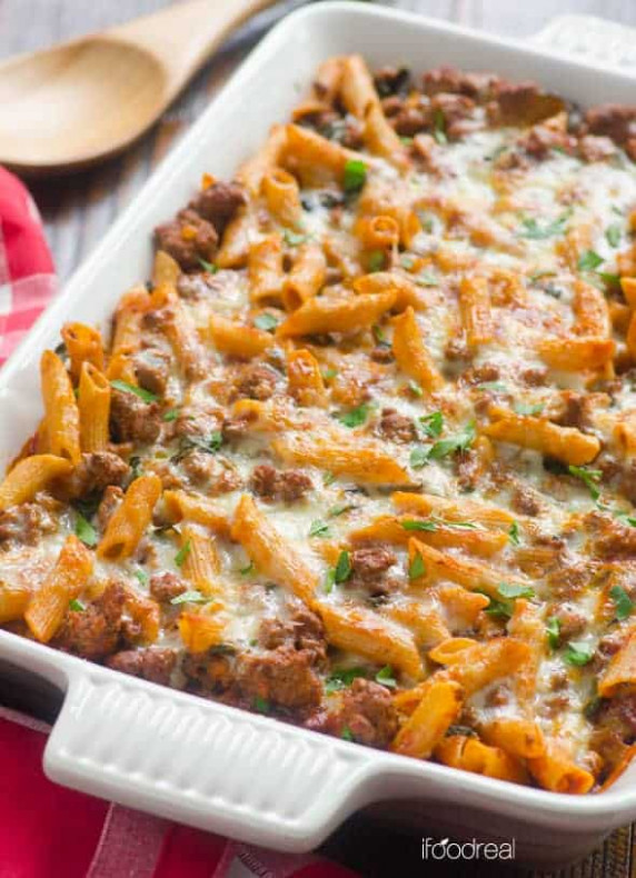 Ground Turkey Pasta Bake - iFOODreal - Healthy Family Recipes - healthy recipes using ground turkey