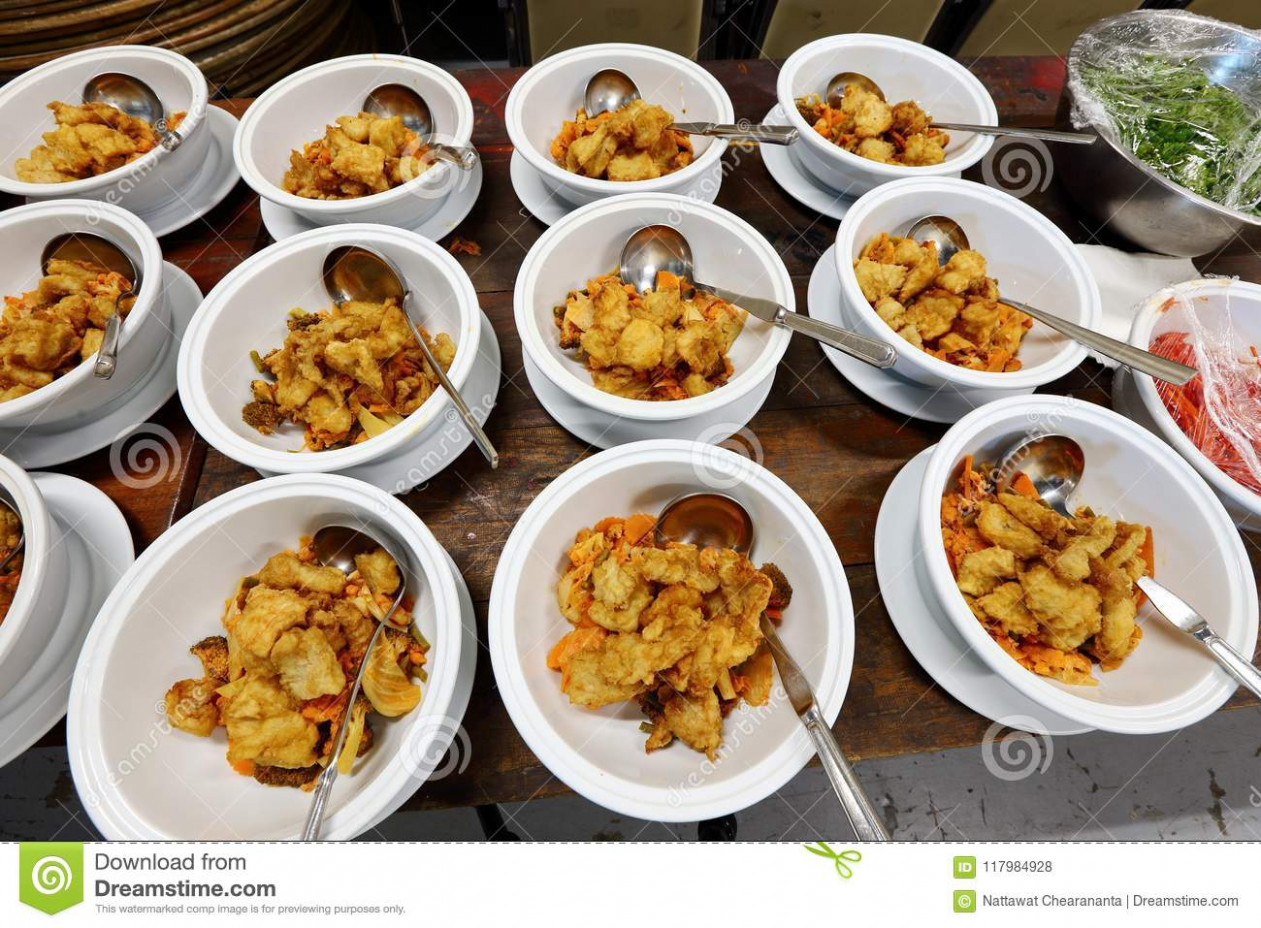 Group Set Of Asian Food Dinner Ready To Serve On Table At ..
