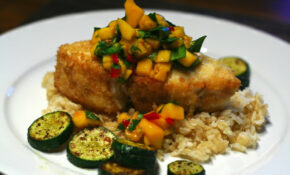 Halibut With Mango Salsa On Coconut Brown Rice – Recipes Ideas With Chicken