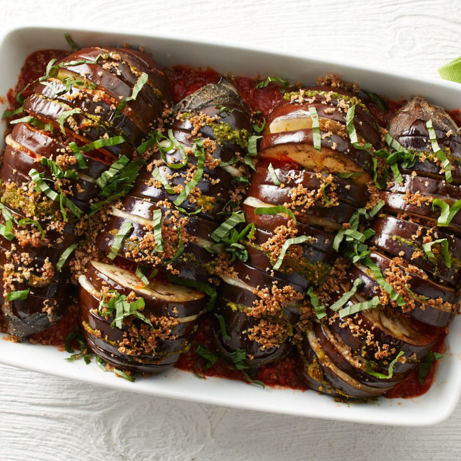 Hasselback Eggplant Parmesan Recipe - EatingWell - quick healthy eggplant recipes