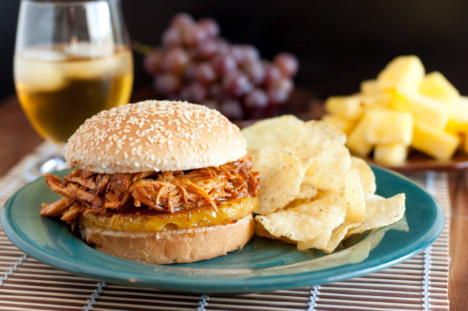 Hawaiian BBQ Pulled Chicken Sandwiches (Slow Cooker Recipe ...