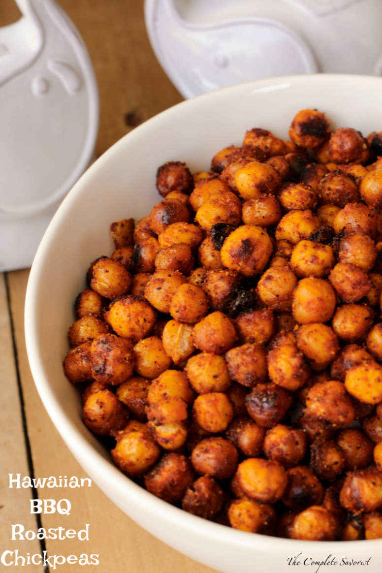 Hawaiian BBQ Roasted Chickpeas - The Complete Savorist - hawaiian food recipes