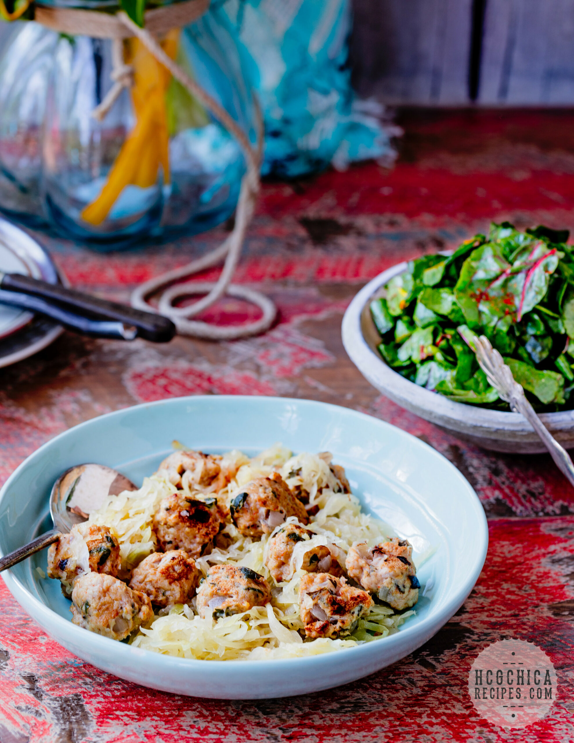 hCG Diet Recipe | Chicken Sauerkraut Meatballs with Wilted Chard - SP/AP - diet recipes chicken