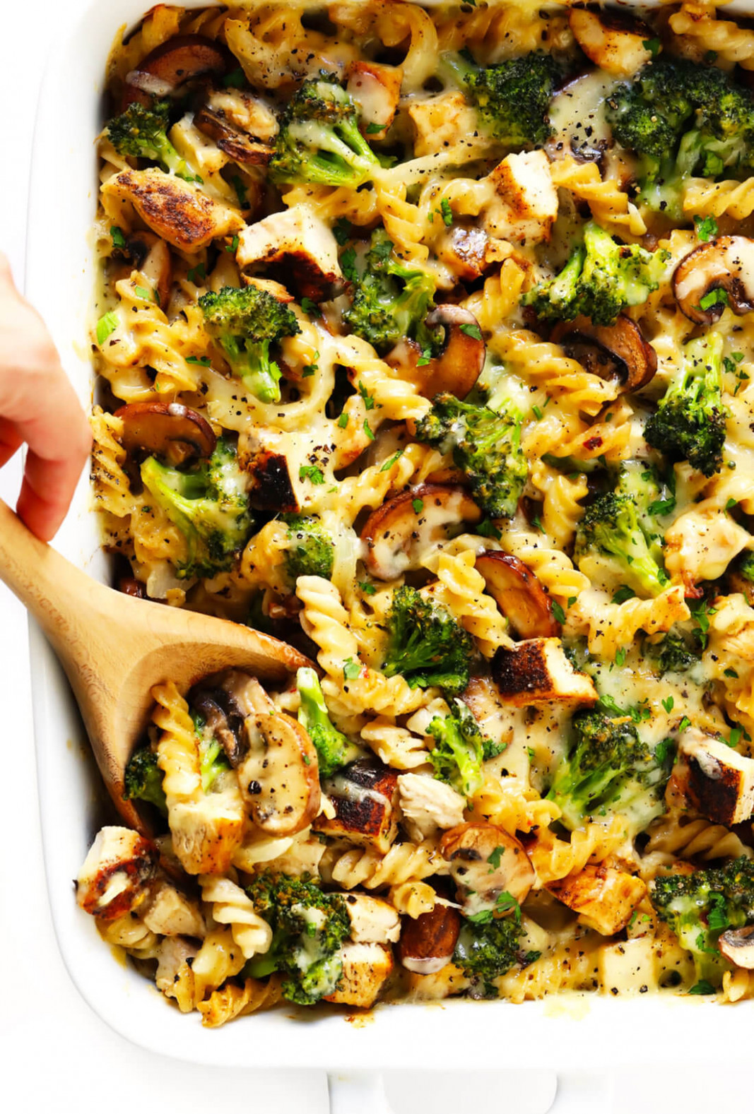 Healthier Broccoli Chicken Casserole Recipe | Gimme Some Oven - healthy recipes with mushrooms