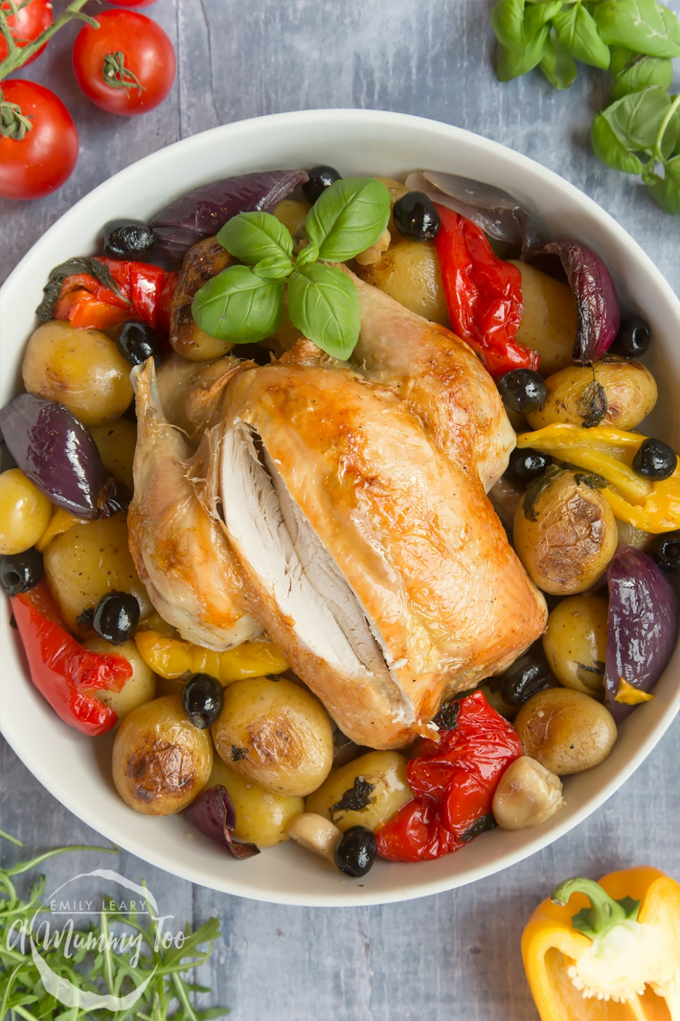 Healthier roast chicken with Mediterranean veg - healthy chicken and vegetable recipes