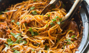 Healthier Slow Cooker Spaghetti And Meat Sauce + VIDEO – Recipes Slow Cooker Healthy