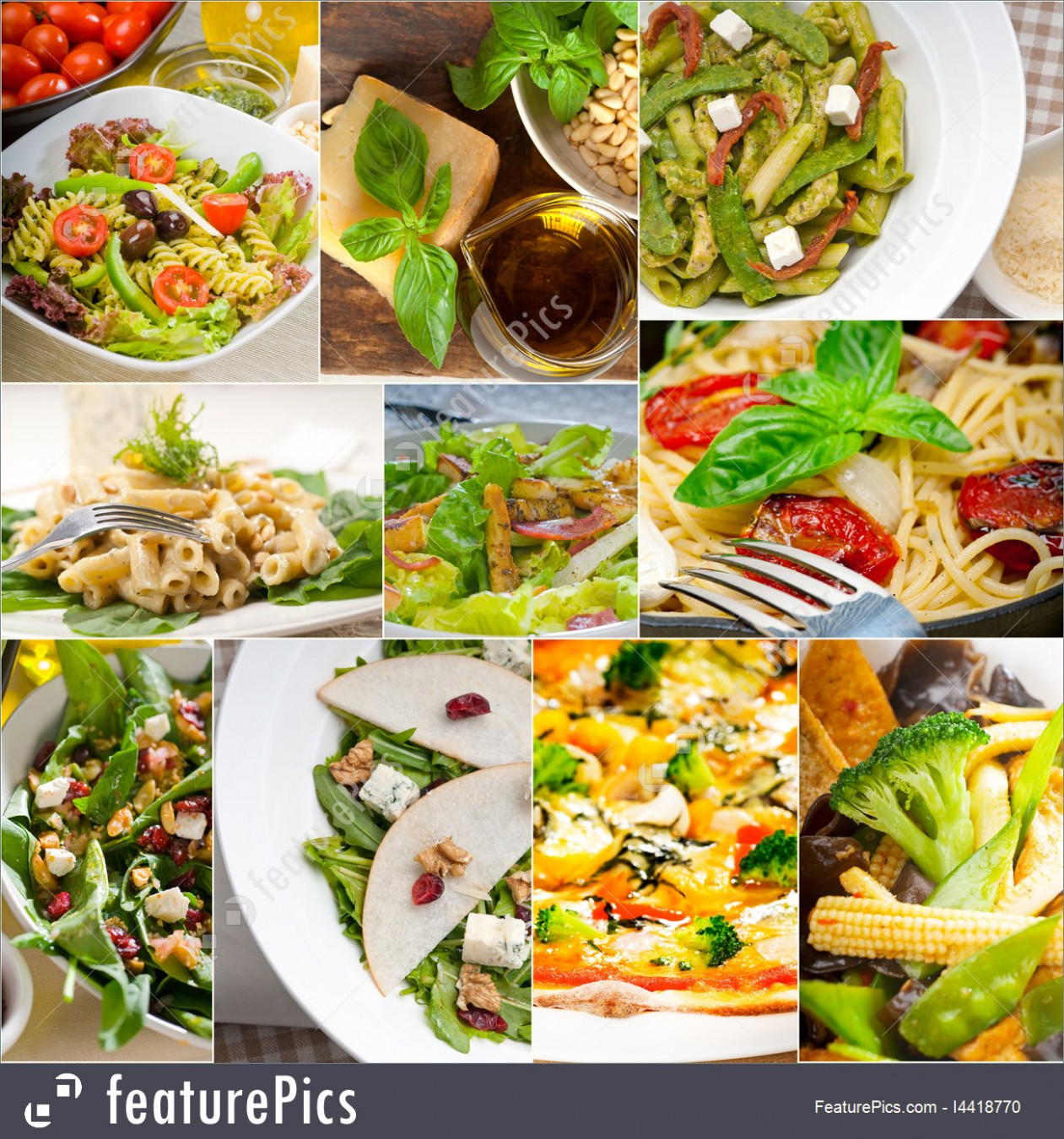 Healthy And Tasty Italian Food Collage Stock Image I12 ..