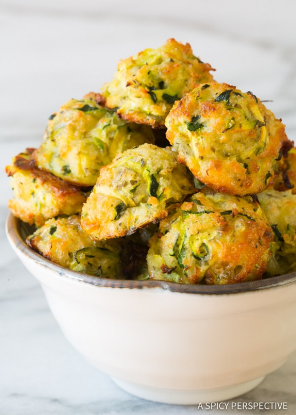 Healthy Baked Zucchini Tots - A Spicy Perspective - healthy zucchini recipes