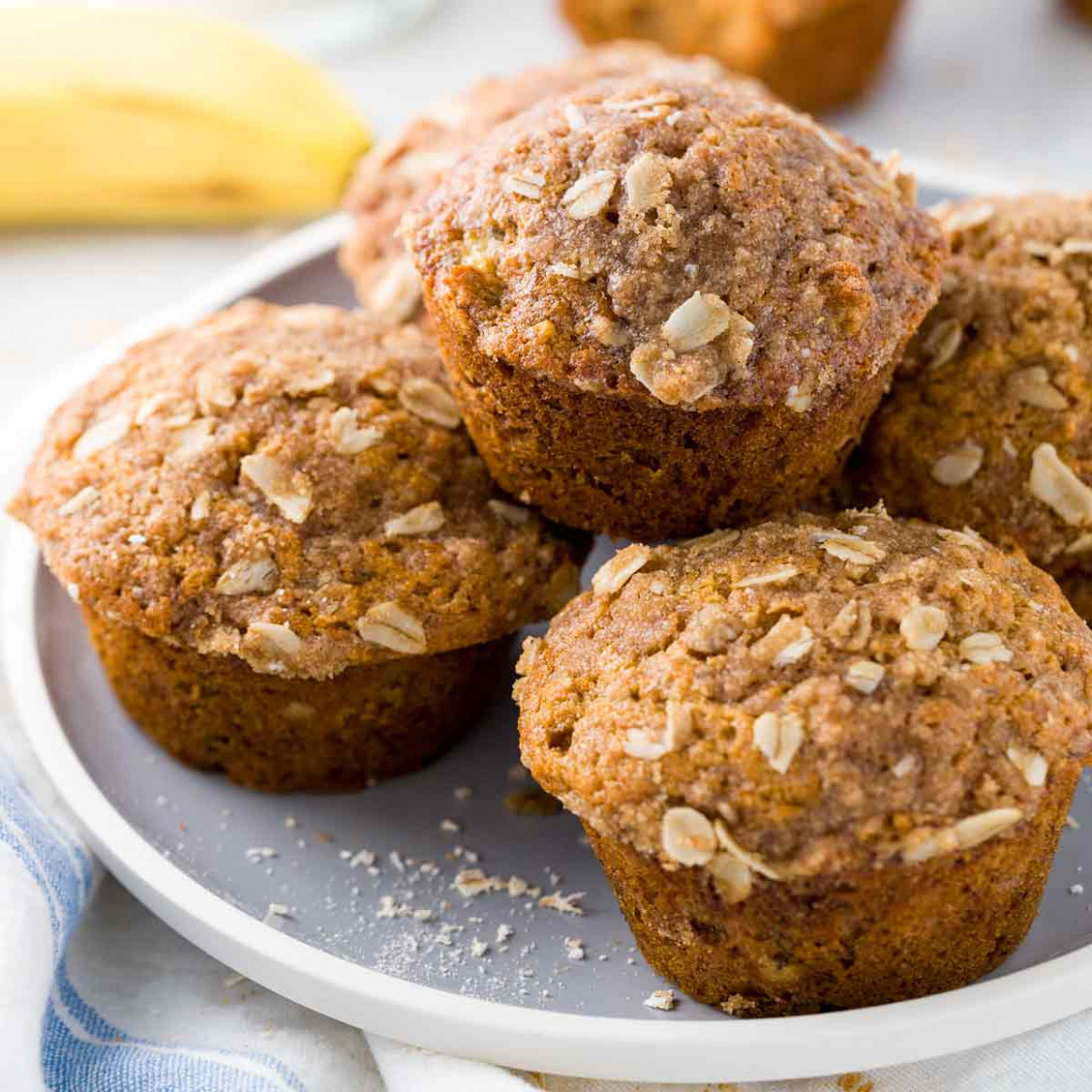 Healthy Banana Muffins with Oats - recipes with banana healthy