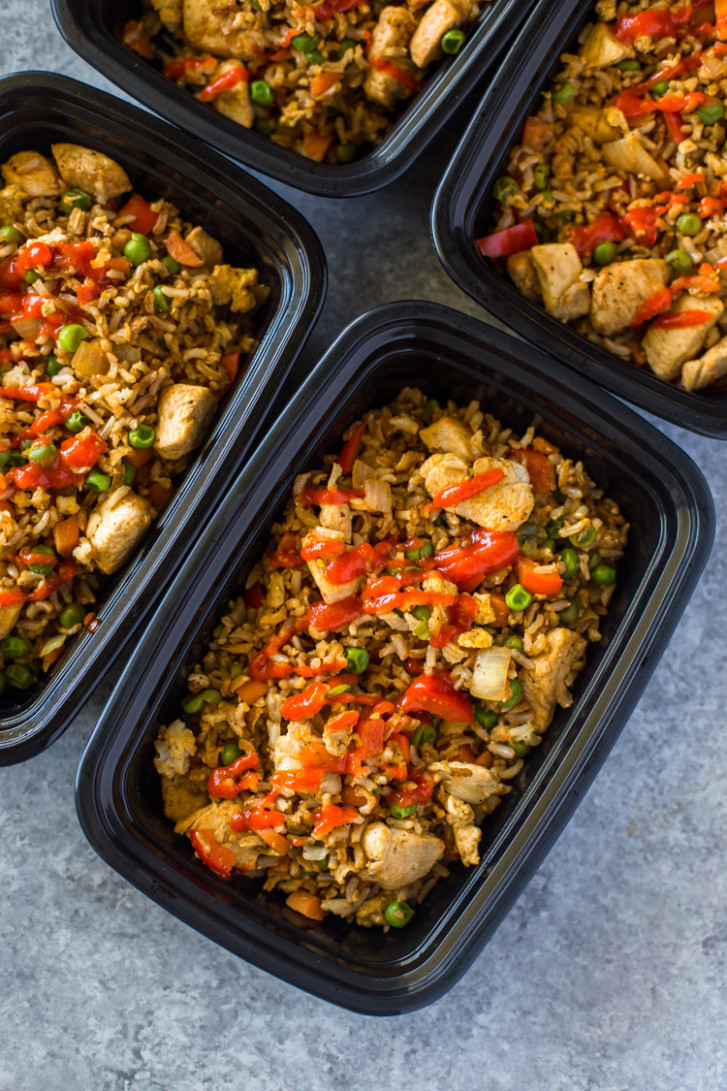Healthy Chicken and Veggie Fried Rice Meal Prep - vegetarian rice recipes main dish
