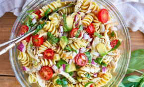 Healthy Chicken Pasta Salad With Avocado, Tomato, And Basil  – Healthy Recipes Salads