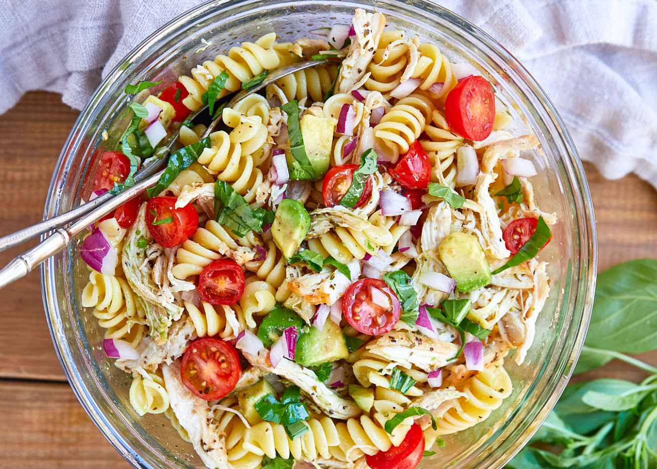 Healthy Chicken Pasta Salad with Avocado, Tomato, and Basil  - healthy recipes salads