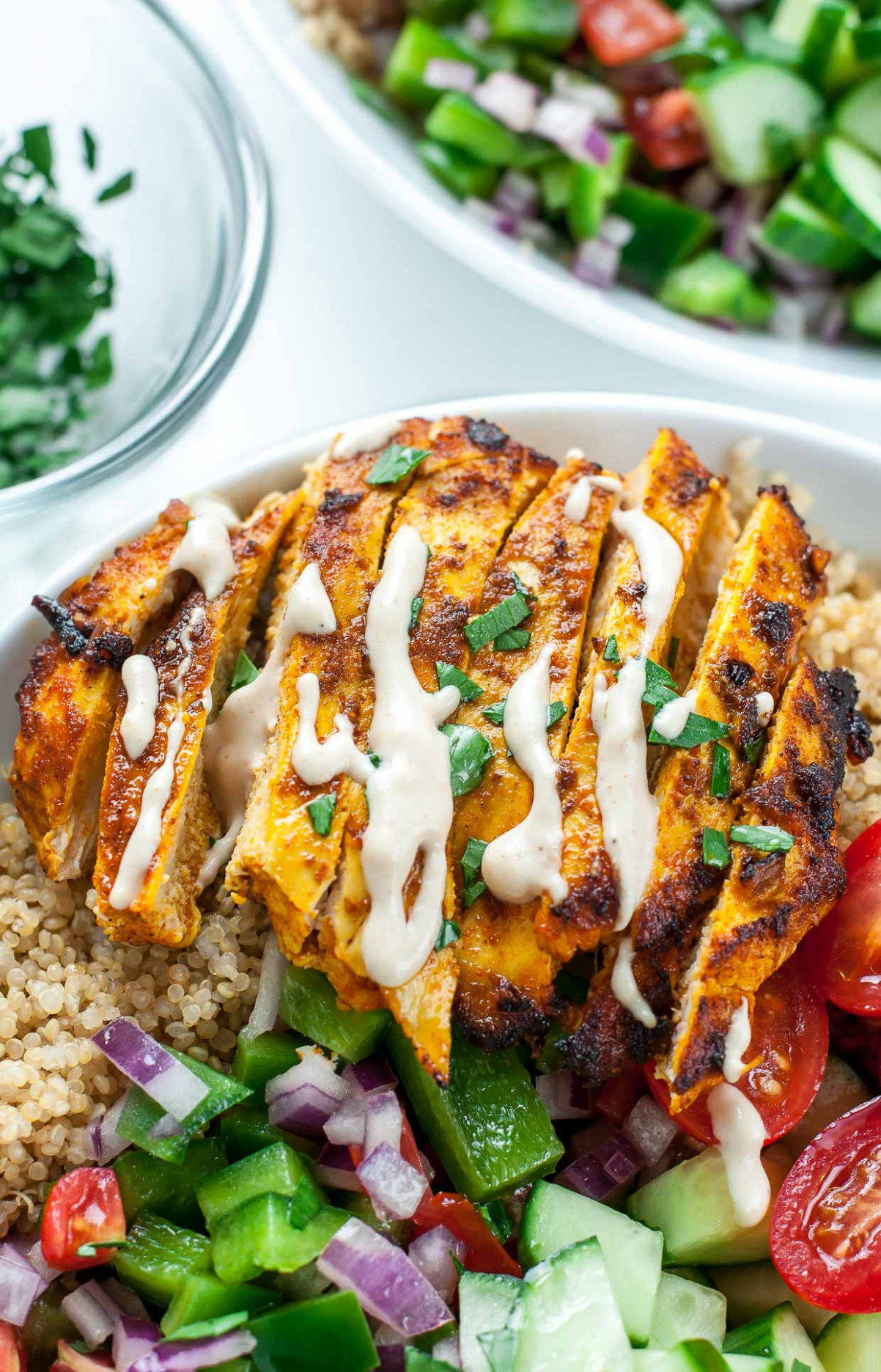 Healthy Chicken Shawarma Quinoa Bowls - Peas And Crayons - quinoa dinner recipes