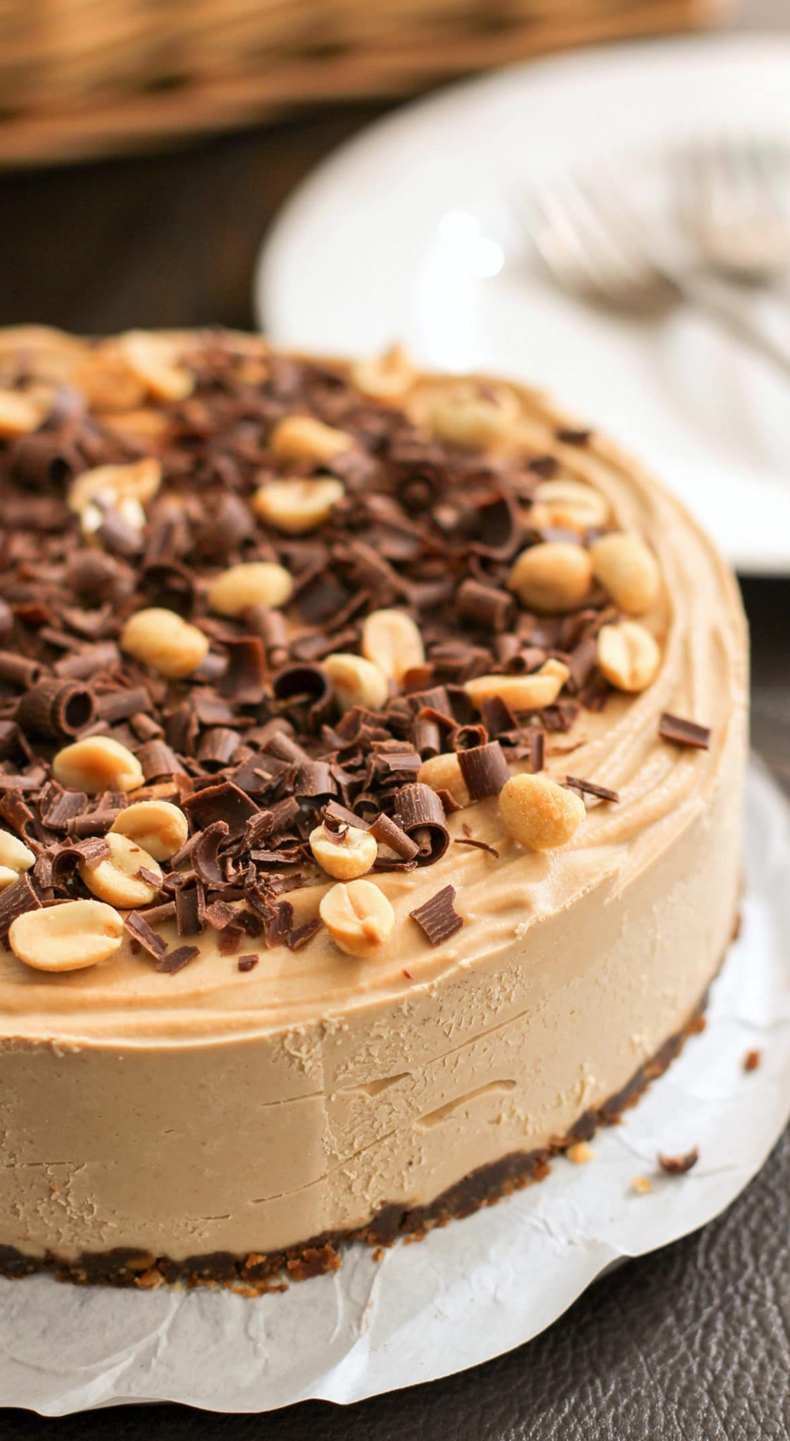 Healthy Chocolate Peanut Butter Raw Cheesecake - recipes baking healthy