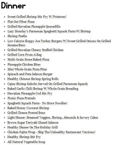 Healthy Dinner Menu...I really need to start studying this ..