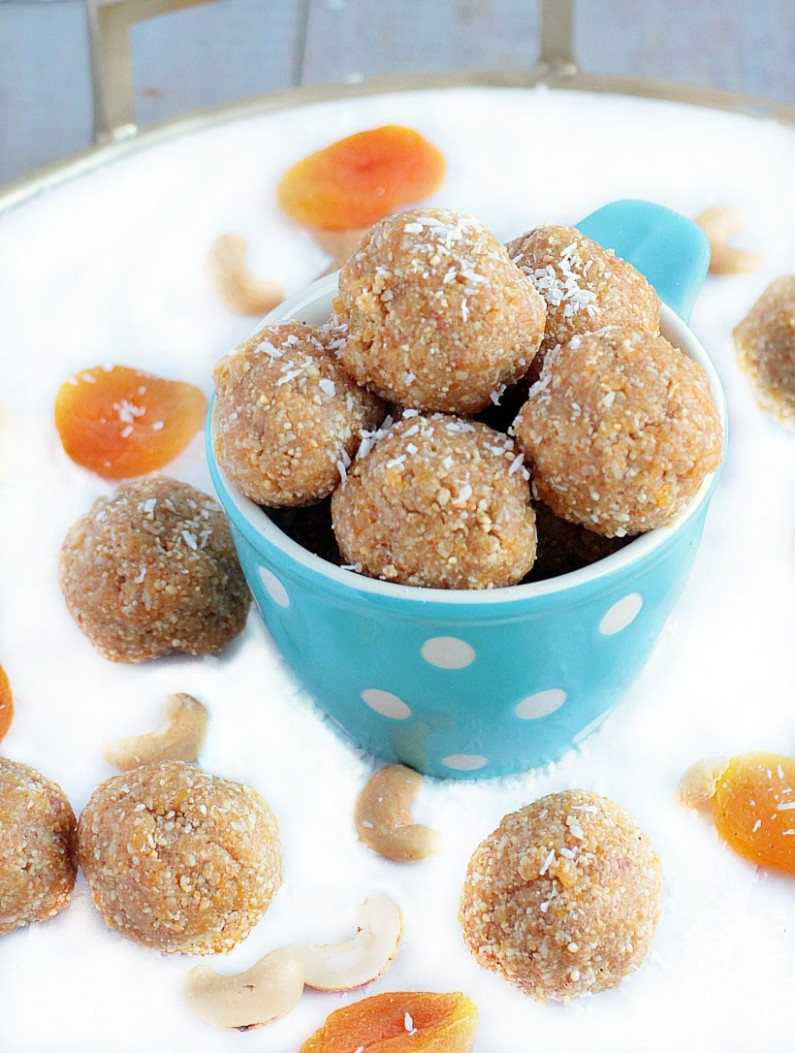 Healthy Energy Bites with Dates, Cashews, Apricots, & Coconut - recipes using dates healthy