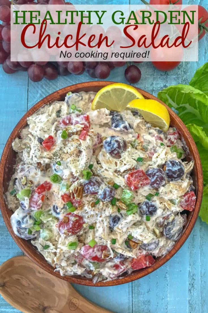 Healthy Garden Chicken Salad | With Peanut Butter on Top - healthy recipes no cooking