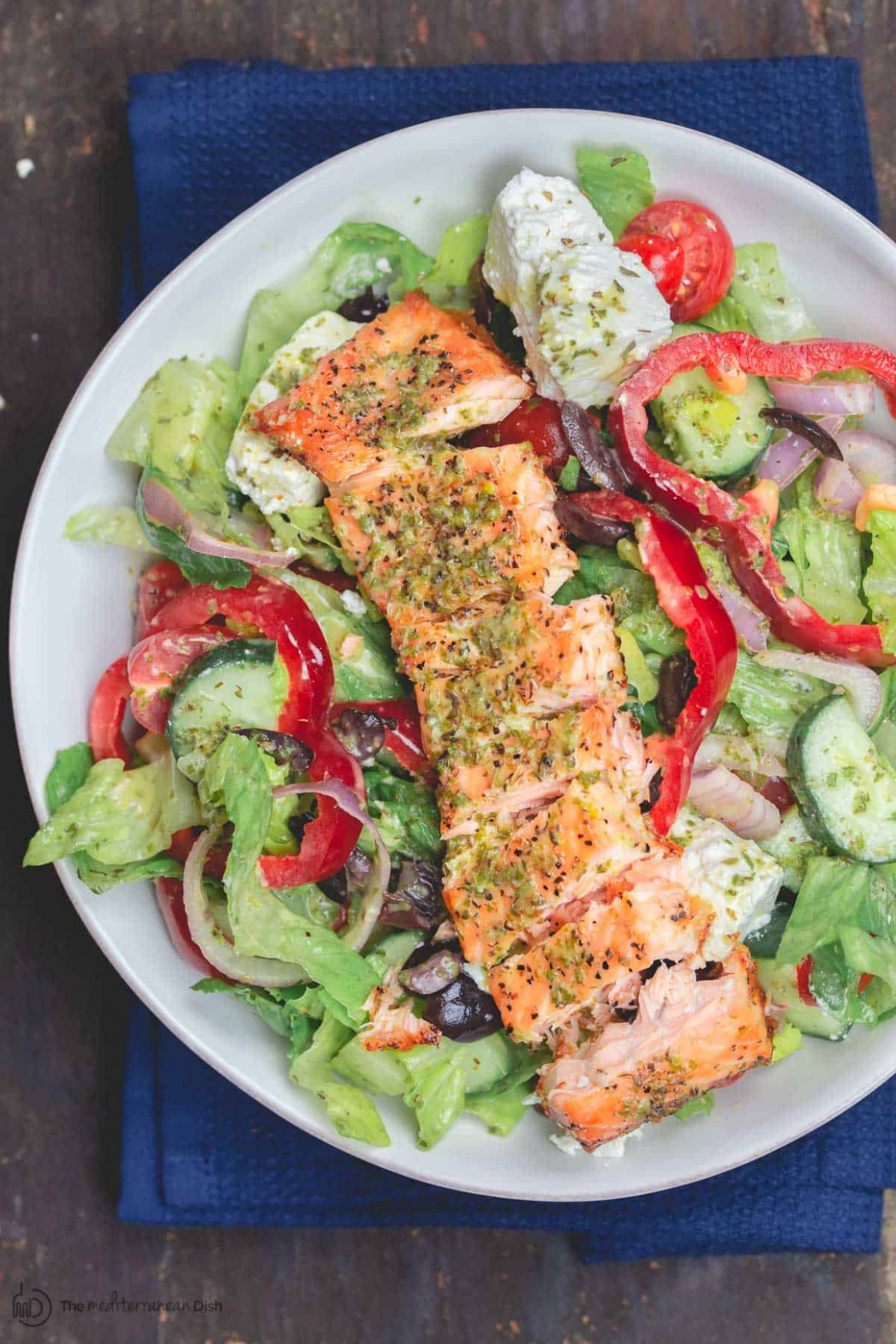 Healthy Greek-Style Salmon Salad | The Mediterranean Dish - recipes salads for dinner