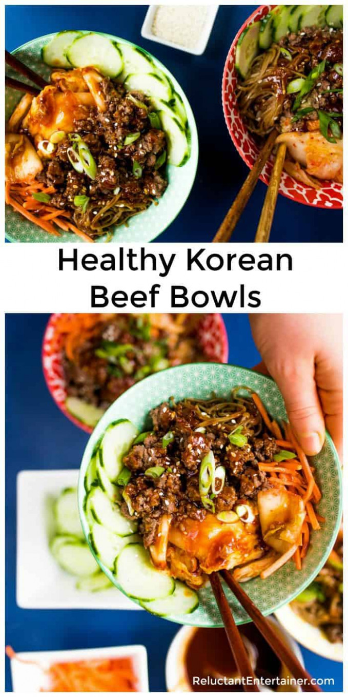 Healthy Korean Beef Bowls - Reluctant Entertainer - healthy korean recipes