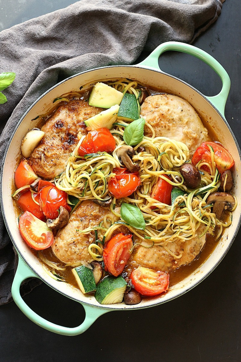 Healthy Low-Carb Chicken Zoodle Skillet - healthy recipes chicken