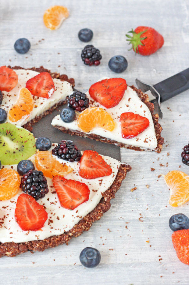 Healthy No Bake Chocolate Fruit Pizza Recipe - Super ..