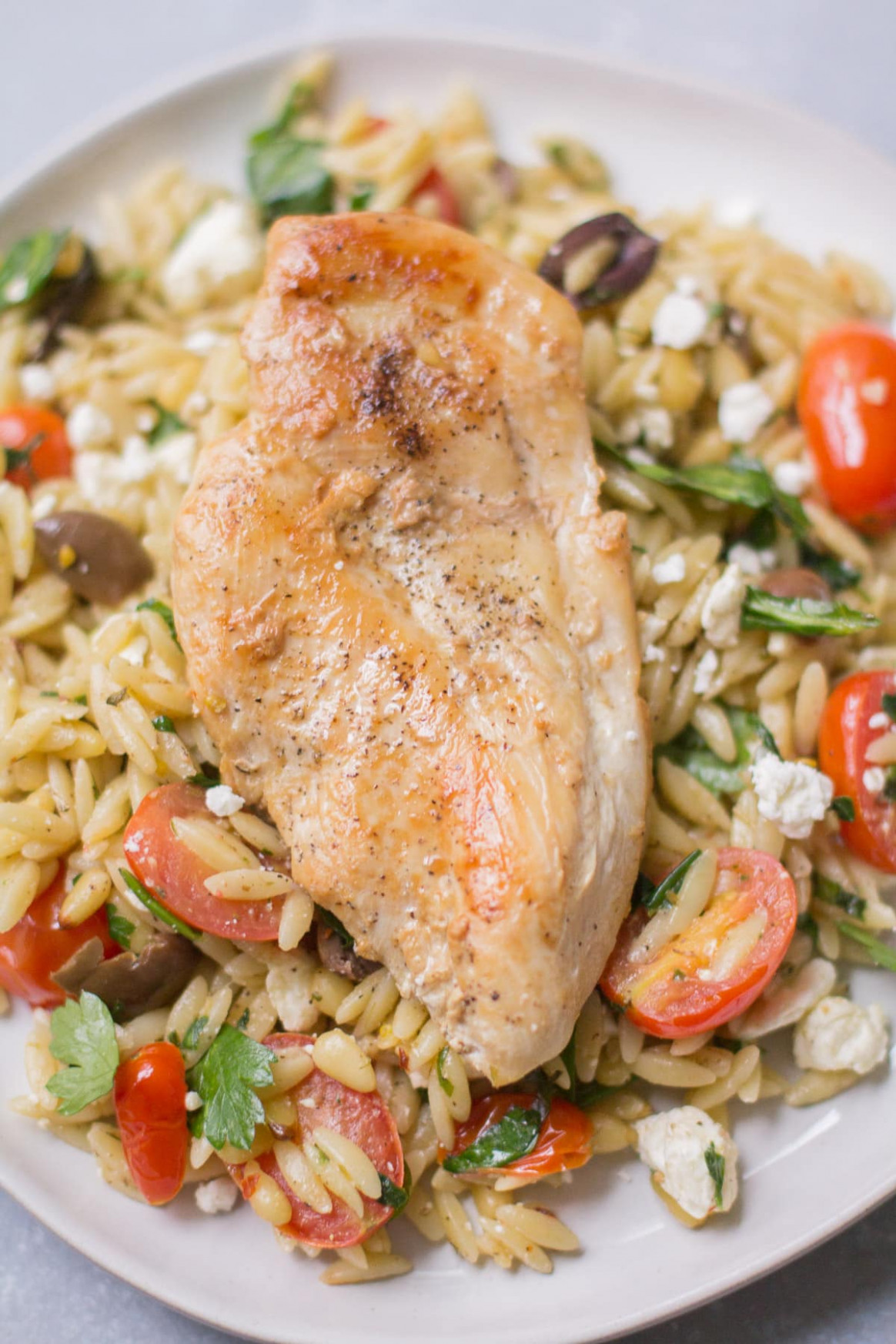 Healthy One Pan Mediterranean Chicken Orzo - mediterranean recipes chicken