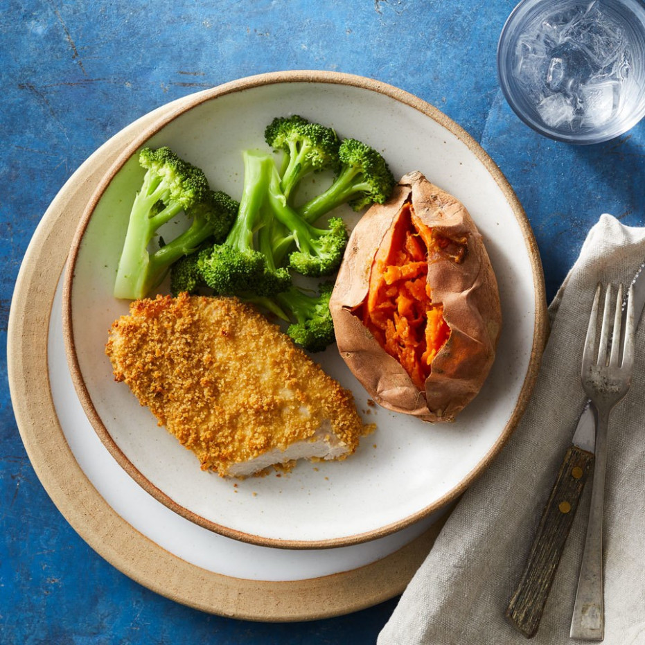 Healthy Oven-Fried Pork Chops Recipe - EatingWell - recipes for lunch healthy