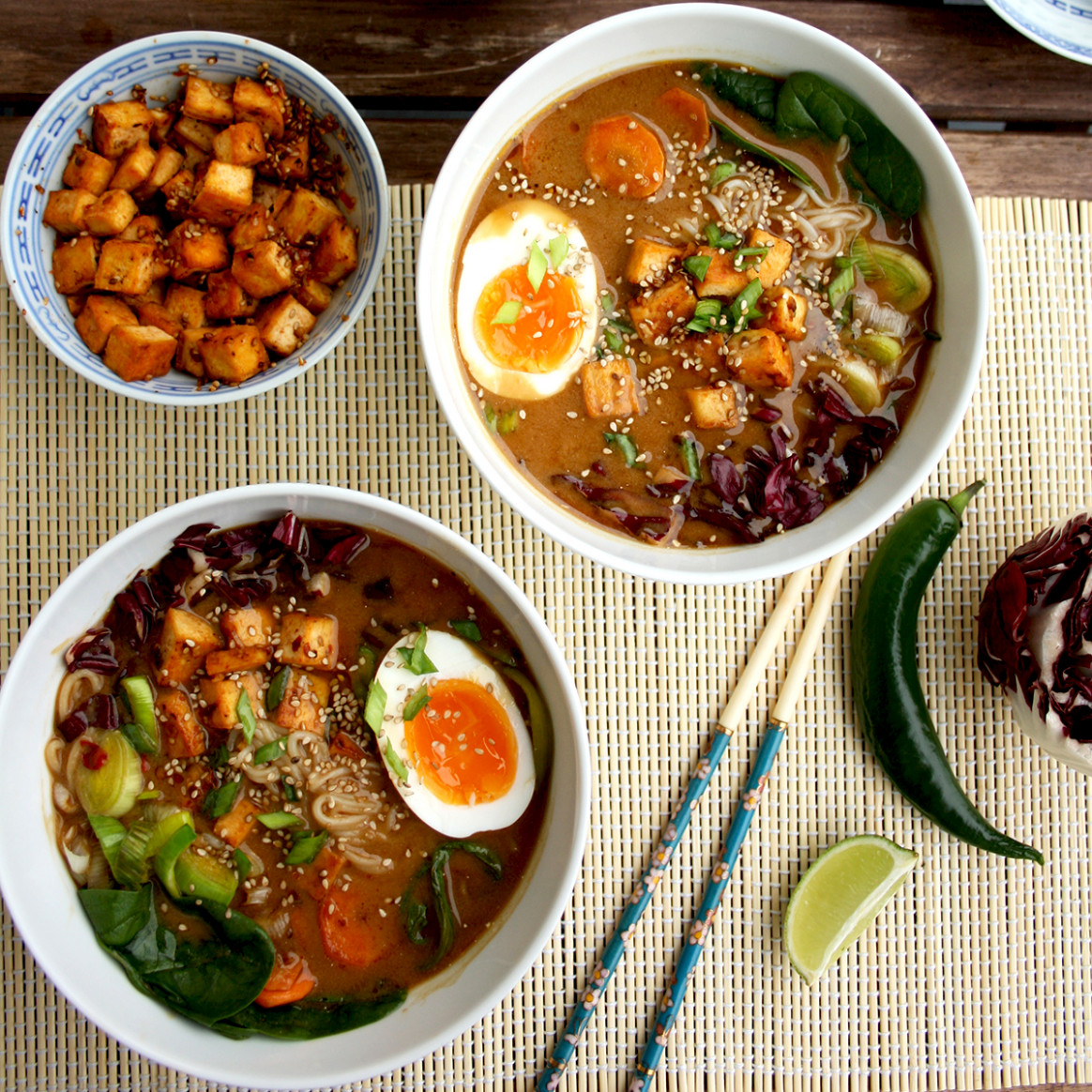 Healthy Ramen With Rice Noodles, Tofu And Veggies - Healthy Ramen Recipes