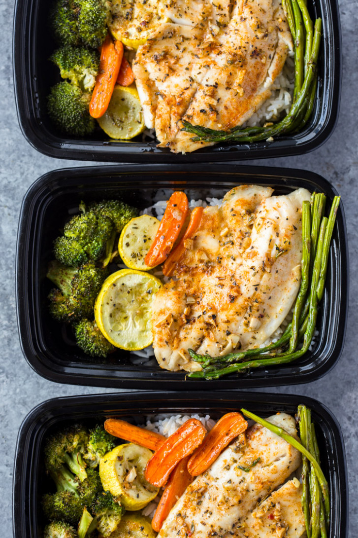 Healthy Sheet Pan Tilapia and Veggies + Meal-Prep - recipes for lunch healthy