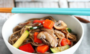 Healthy Soba Noodle Recipe With Mushrooms & Zucchini Vegan | Cookincanuck