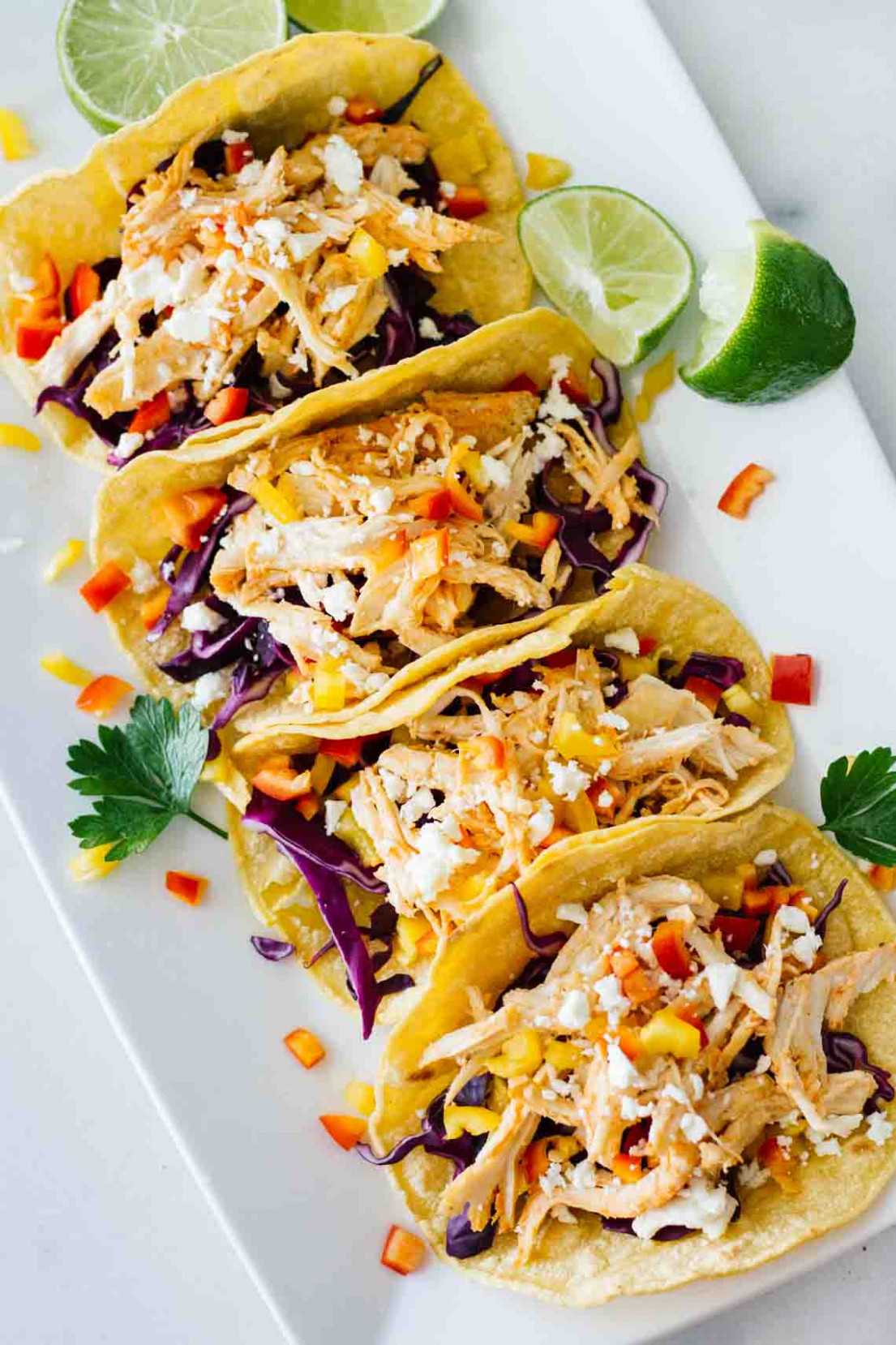 Healthy Sriracha Shredded Chicken Tacos - Jar Of Lemons - chicken recipes quick and easy for dinner