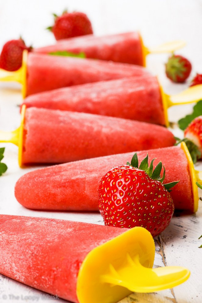 Healthy Strawberry Popsicles - The Loopy Whisk - recipes popsicles healthy