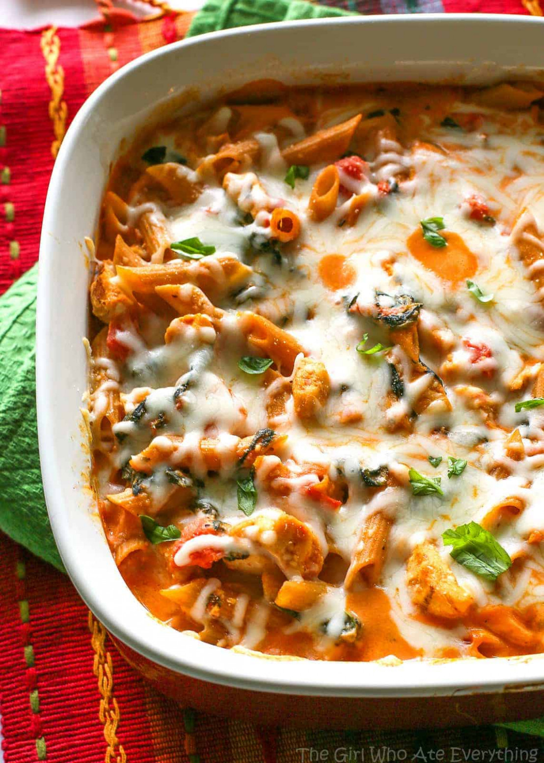 Healthy Three Cheese Chicken Penne Pasta Bake - The Girl ..