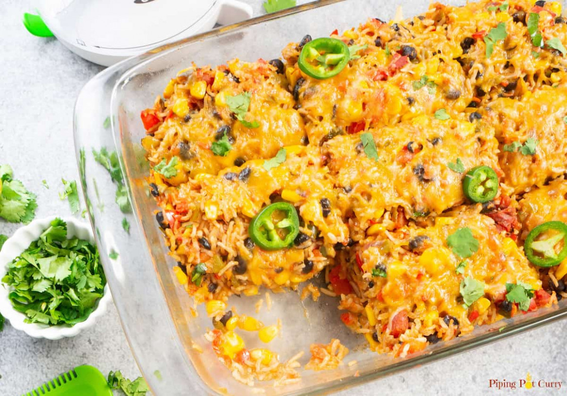 Healthy Vegetarian Mexican Casserole with Rice & Beans ..