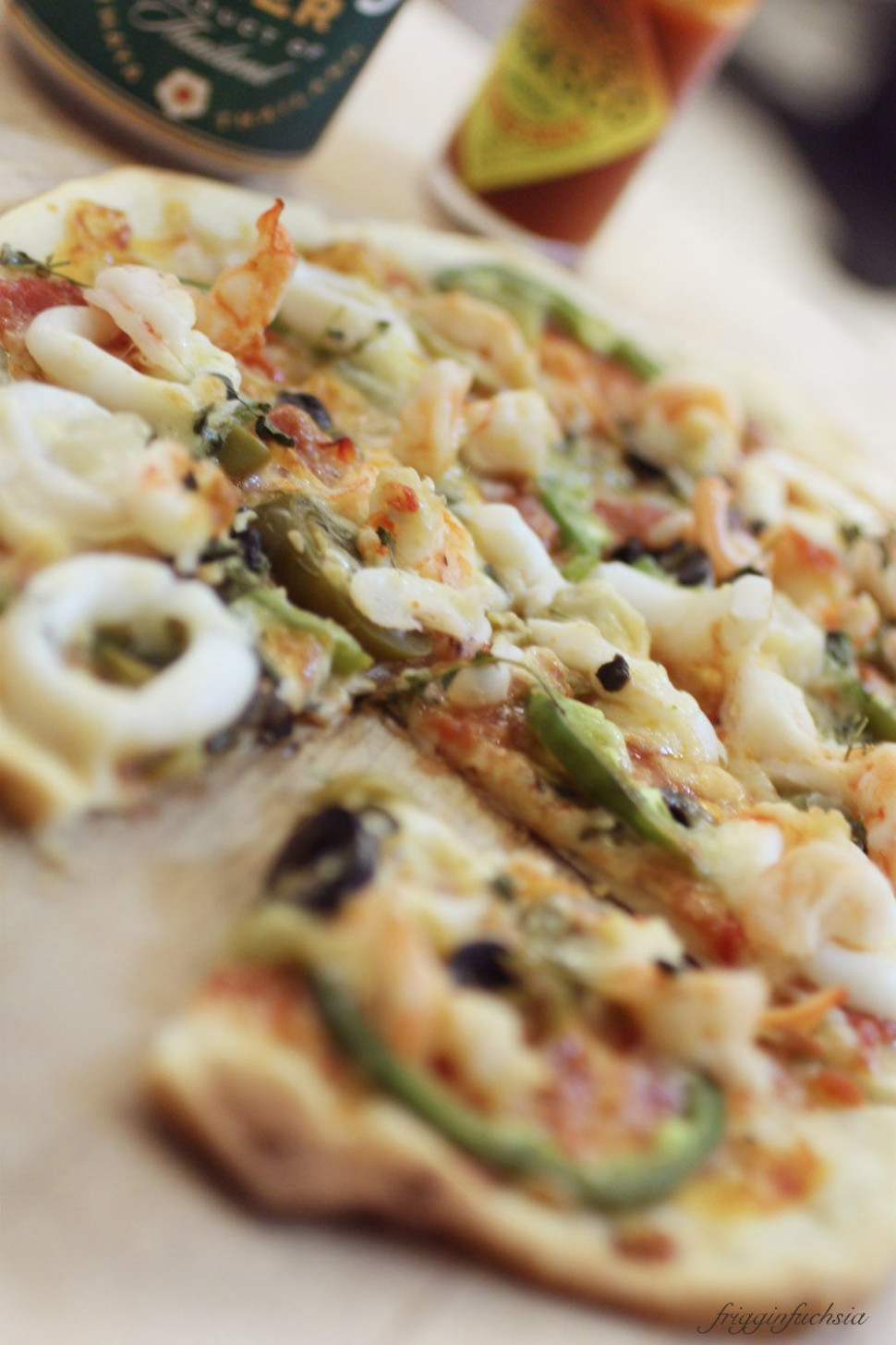 Home-made thin crust seafood pizza, crust recipe by Jamie ..