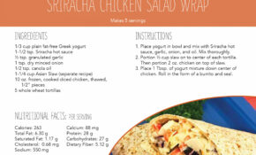 Home Recipe Card: Sriracha Chicken Salad Wrap | National ..
