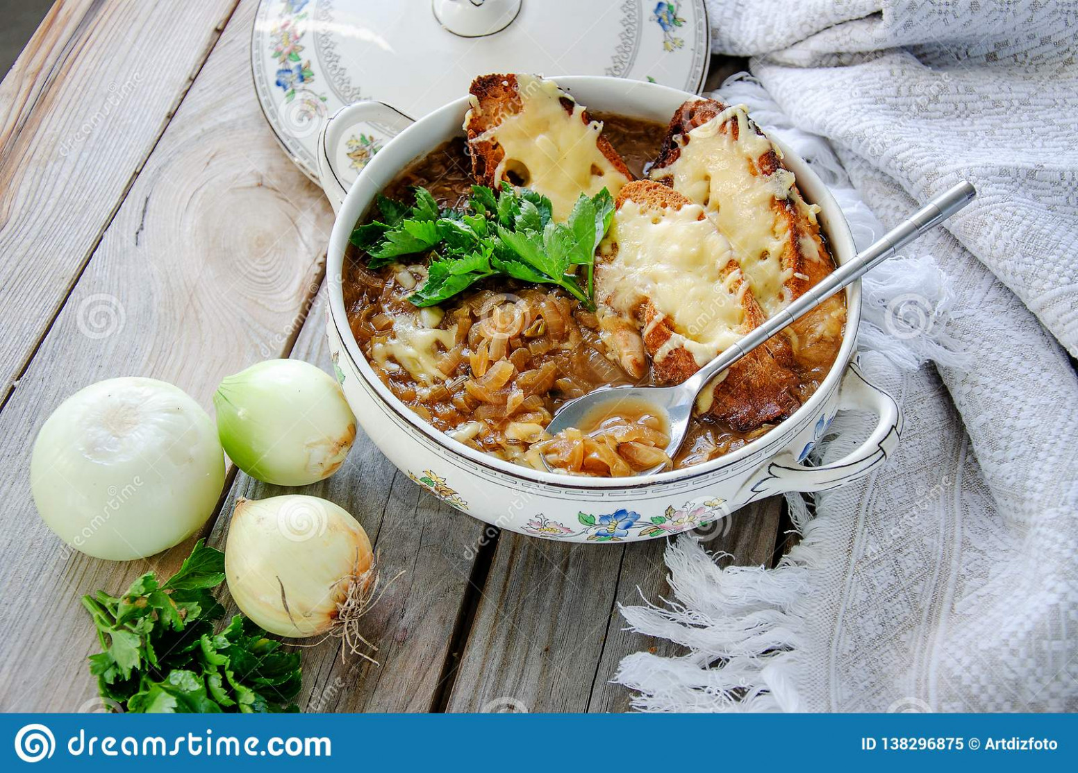 Homemade French Onion Soup With Cheese And Toast On A Wooden ..