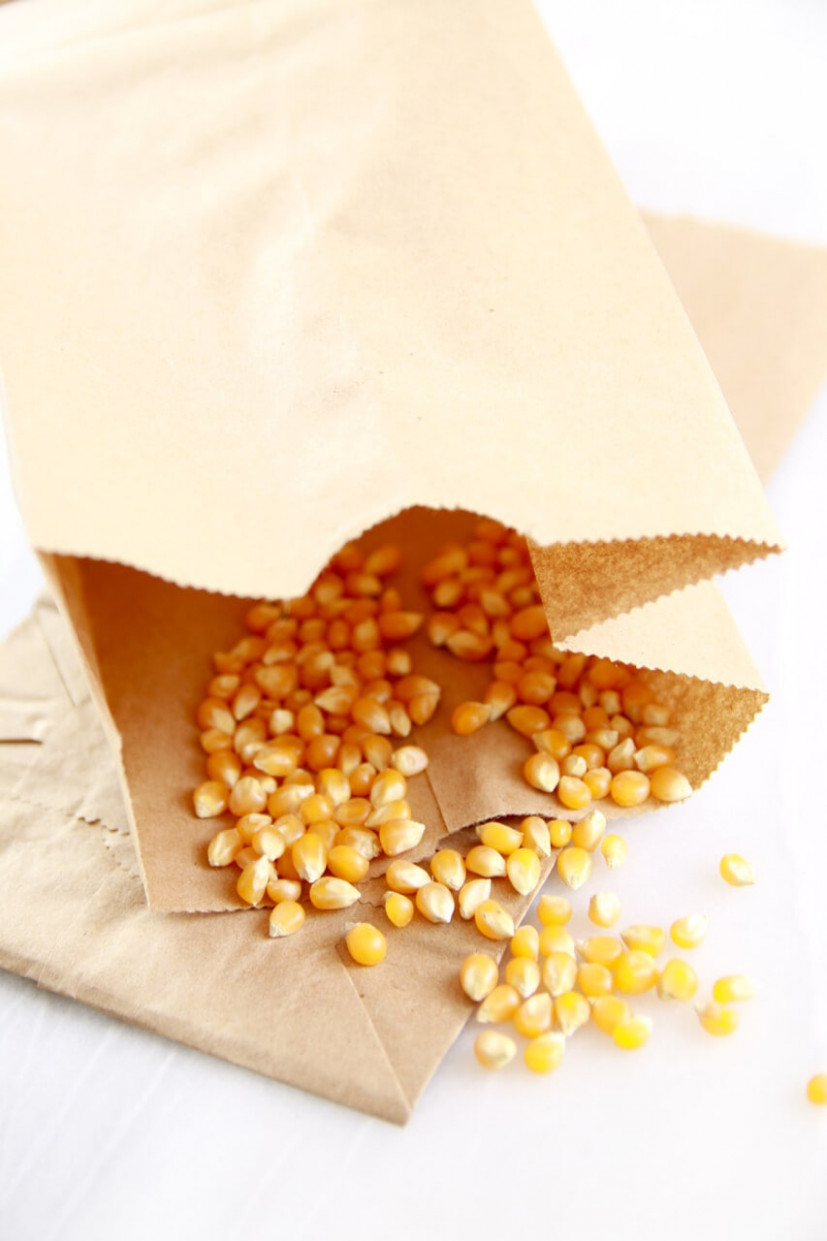 Homemade Microwave Popcorn Made in a Brown Paper Bag ..